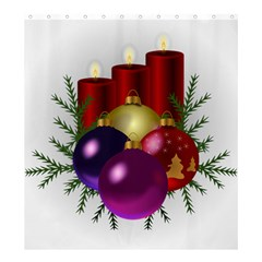 Candles Christmas Tree Decorations Shower Curtain 66  x 72  (Large)
