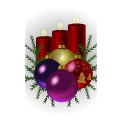 Candles Christmas Tree Decorations Shower Curtain 48  x 72  (Small)