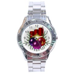 Candles Christmas Tree Decorations Stainless Steel Analogue Watch