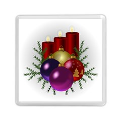 Candles Christmas Tree Decorations Memory Card Reader (Square)