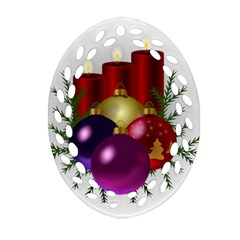 Candles Christmas Tree Decorations Oval Filigree Ornament (Two Sides)
