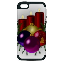 Candles Christmas Tree Decorations Apple iPhone 5 Hardshell Case (PC+Silicone)