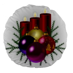 Candles Christmas Tree Decorations Large 18  Premium Round Cushions