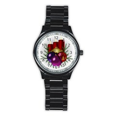 Candles Christmas Tree Decorations Stainless Steel Round Watch