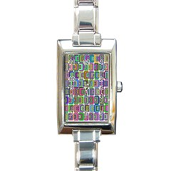 Psychedelic 70 S 1970 S Abstract Rectangle Italian Charm Watch