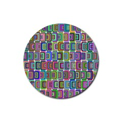 Psychedelic 70 S 1970 S Abstract Rubber Coaster (Round)