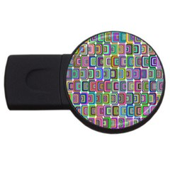 Psychedelic 70 S 1970 S Abstract USB Flash Drive Round (1 GB)