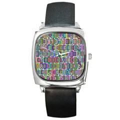 Psychedelic 70 S 1970 S Abstract Square Metal Watch
