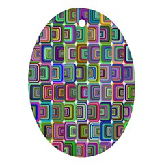 Psychedelic 70 S 1970 S Abstract Oval Ornament (Two Sides)