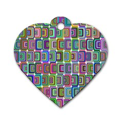 Psychedelic 70 S 1970 S Abstract Dog Tag Heart (One Side)