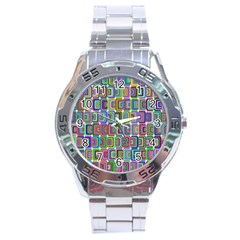 Psychedelic 70 S 1970 S Abstract Stainless Steel Analogue Watch