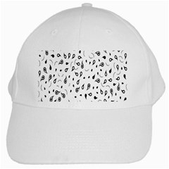 Paisley Floral Flourish Decorative White Cap