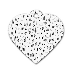 Paisley Floral Flourish Decorative Dog Tag Heart (One Side)