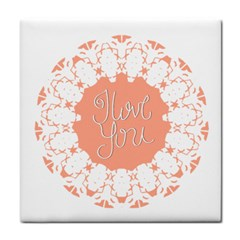 Mandala I Love You Tile Coasters