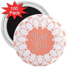Mandala I Love You 3  Magnets (100 pack)