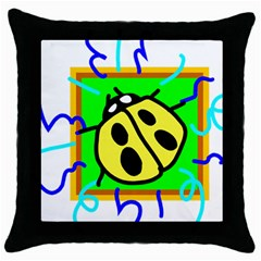 Insect Ladybug Throw Pillow Case (Black)