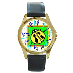 Insect Ladybug Round Gold Metal Watch