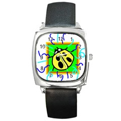 Insect Ladybug Square Metal Watch