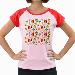 Cute Owl Wallpaper Pattern Women s Cap Sleeve T-Shirt