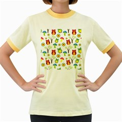 Cute Owl Wallpaper Pattern Women s Fitted Ringer T-Shirts