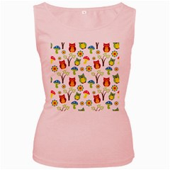 Cute Owl Wallpaper Pattern Women s Pink Tank Top