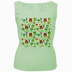 Cute Owl Wallpaper Pattern Women s Green Tank Top