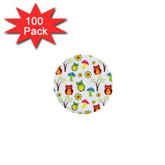 Cute Owl Wallpaper Pattern 1  Mini Buttons (100 pack)