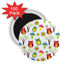Cute Owl Wallpaper Pattern 2.25  Magnets (100 pack)