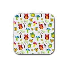 Cute Owl Wallpaper Pattern Rubber Square Coaster (4 pack)