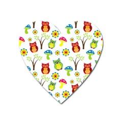 Cute Owl Wallpaper Pattern Heart Magnet