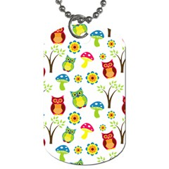 Cute Owl Wallpaper Pattern Dog Tag (One Side)