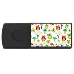 Cute Owl Wallpaper Pattern USB Flash Drive Rectangular (1 GB)