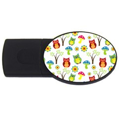Cute Owl Wallpaper Pattern USB Flash Drive Oval (4 GB)