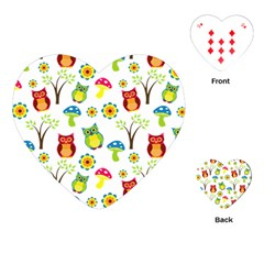 Cute Owl Wallpaper Pattern Playing Cards (Heart)