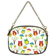 Cute Owl Wallpaper Pattern Chain Purses (One Side)