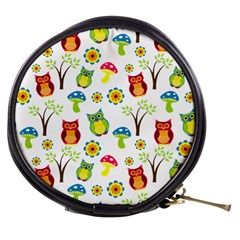 Cute Owl Wallpaper Pattern Mini Makeup Bags