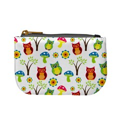 Cute Owl Wallpaper Pattern Mini Coin Purses
