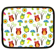Cute Owl Wallpaper Pattern Netbook Case (XL)