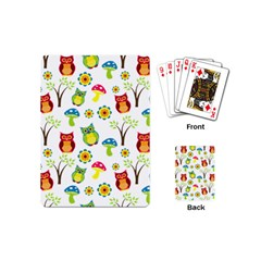 Cute Owl Wallpaper Pattern Playing Cards (Mini)