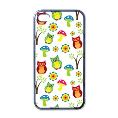 Cute Owl Wallpaper Pattern Apple iPhone 4 Case (Black)