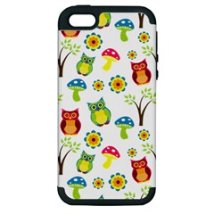 Cute Owl Wallpaper Pattern Apple iPhone 5 Hardshell Case (PC+Silicone)