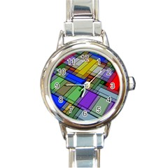 Abstract Background Pattern Round Italian Charm Watch