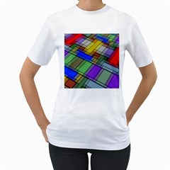 Abstract Background Pattern Women s T-Shirt (White) (Two Sided)