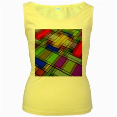 Abstract Background Pattern Women s Yellow Tank Top