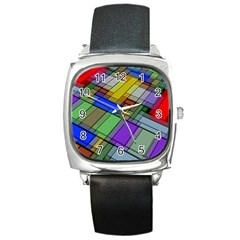 Abstract Background Pattern Square Metal Watch