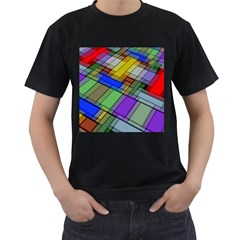 Abstract Background Pattern Men s T-Shirt (Black) (Two Sided)
