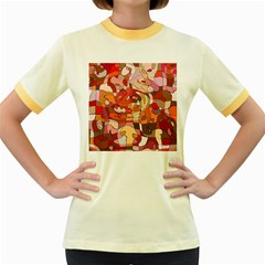 Abstract Abstraction Pattern Modern Women s Fitted Ringer T-Shirts