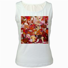 Abstract Abstraction Pattern Modern Women s White Tank Top