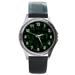 Abstract Art Background Green Round Metal Watch
