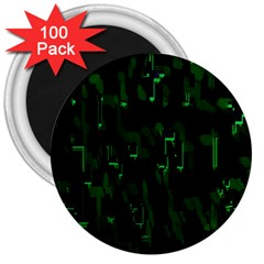 Abstract Art Background Green 3  Magnets (100 pack)